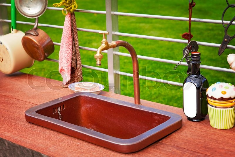 Image of a rustic outdoor kitchen area. , stock photo