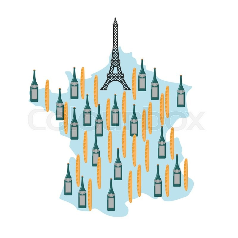 Map Of France Eiffel Tower.Map Of France With Eiffel Tower In Stock Vector Colourbox