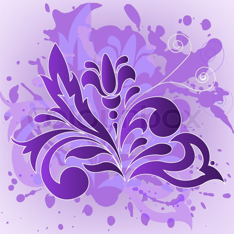 Purple Flower On A Background Splashed With Paint