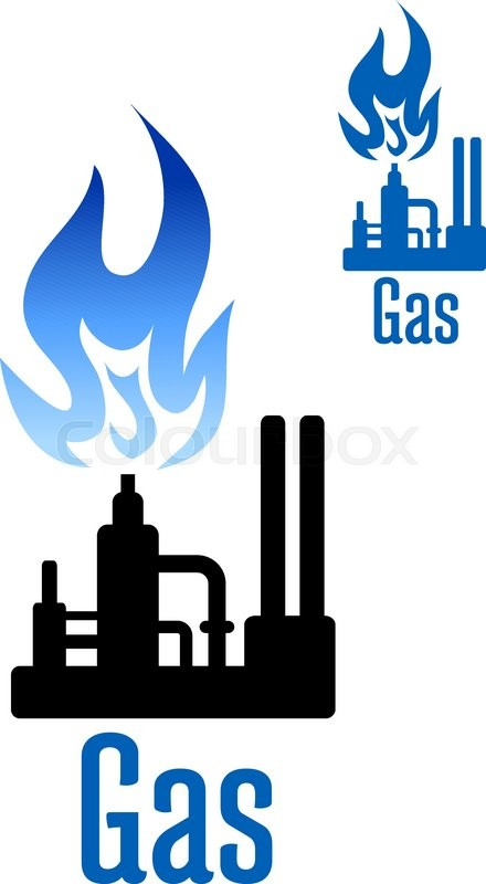 Natural Gas Processing Factory Icon With Spray Tower Pipelines And