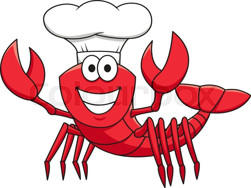 Cheerful Smiling Red Lobster Chef Cartoon Character In -9046