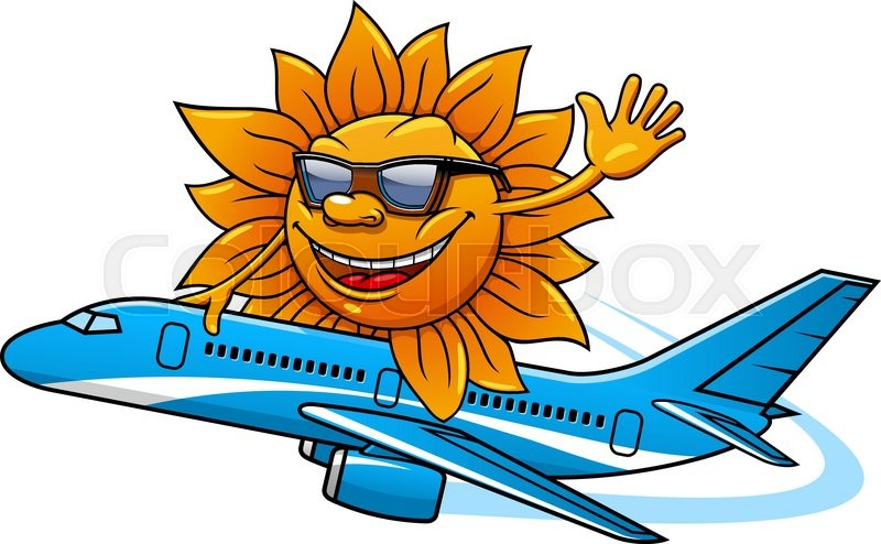 Funny Cartoon Sun Character In Sunglasses Flying On Airplane For Vacation And Air Travel Theme Design Vector