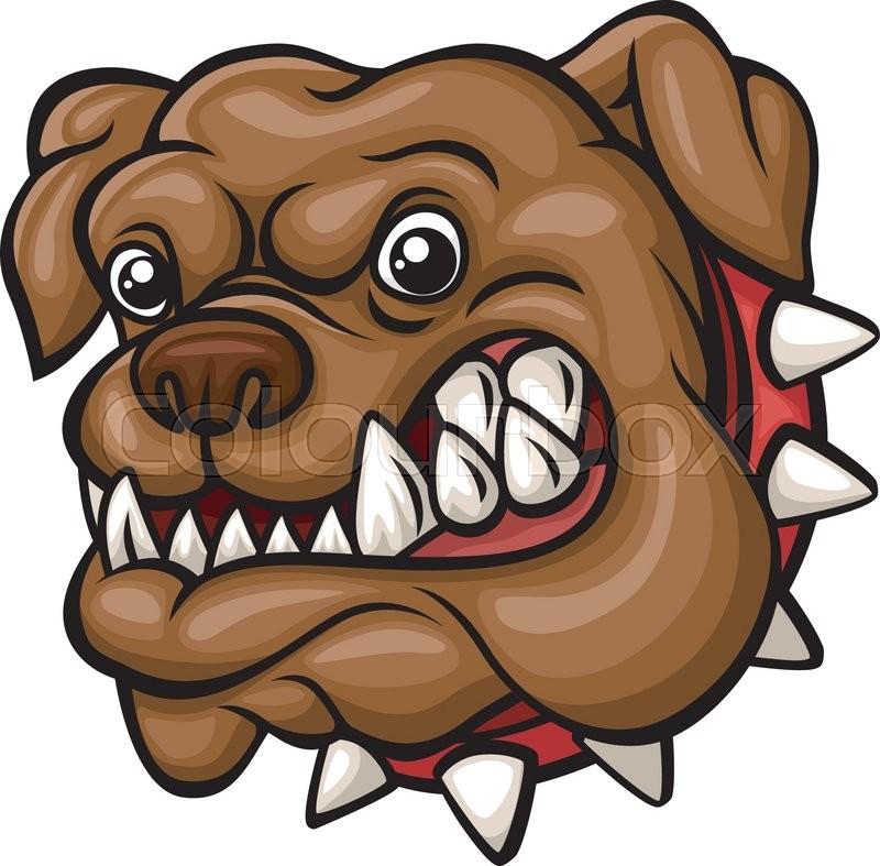 Vector illustration of Angry cartoon bulldog head mascot ...