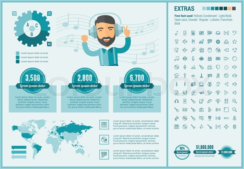 """Infographic Ideas buy infographic template : Buy Vector """"Music infographic template and elements. The template ..."""