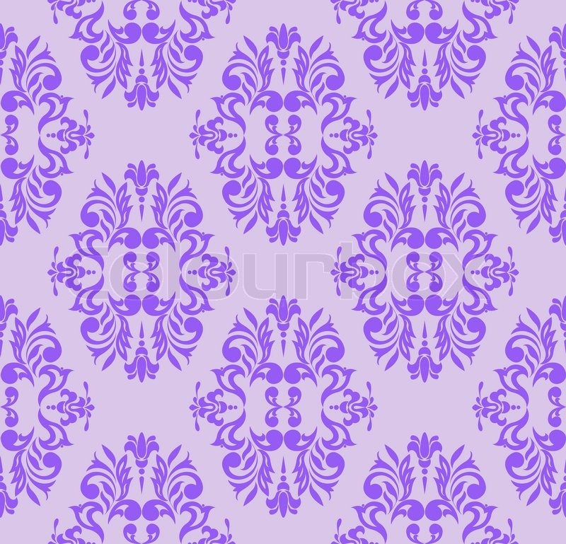 Seamless Floral Pattern Of Violet On A Lilac Background