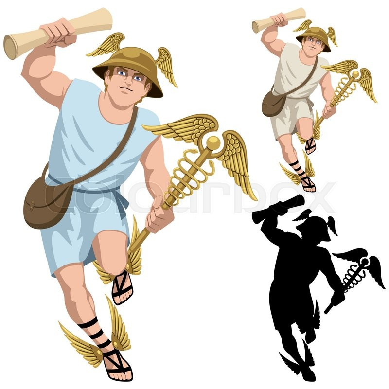 Greek god Hermes isolated on white and in 3 versions. | Vector ...