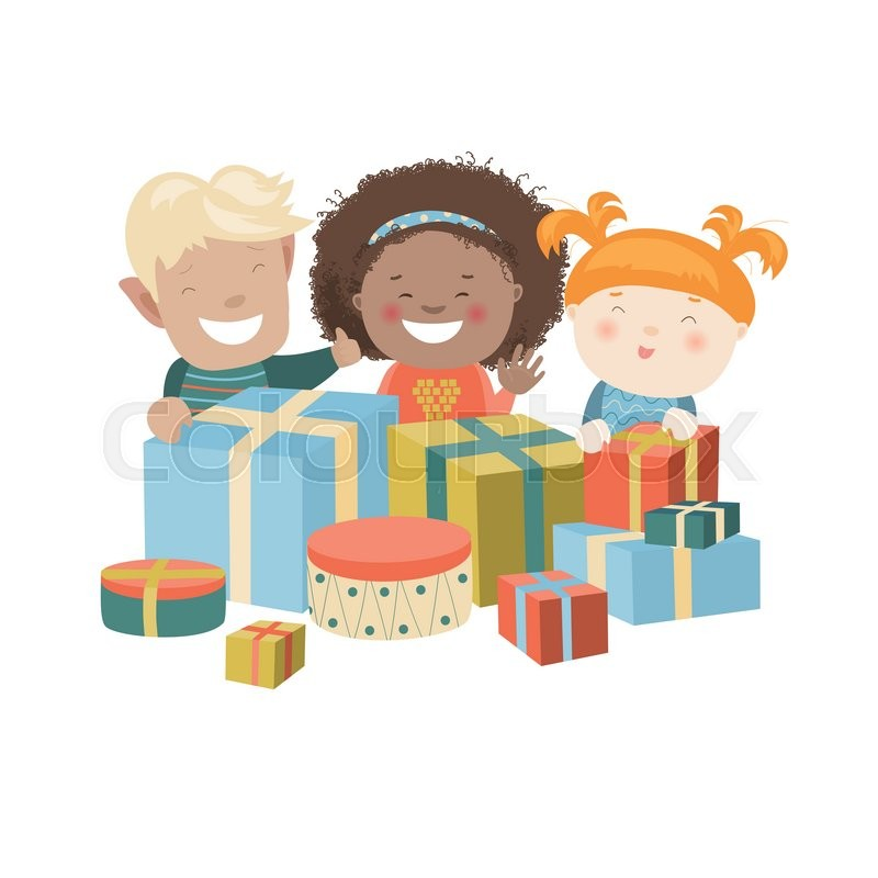 Vector Illustration of Kids Opening Christmas Gifts ...