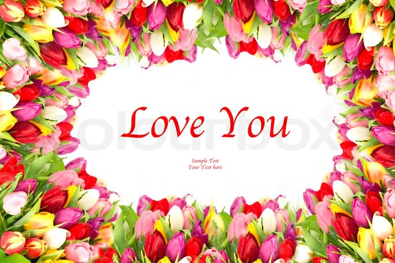Colorful flowers frame, tulips. Live You | Stock Photo | Colourbox