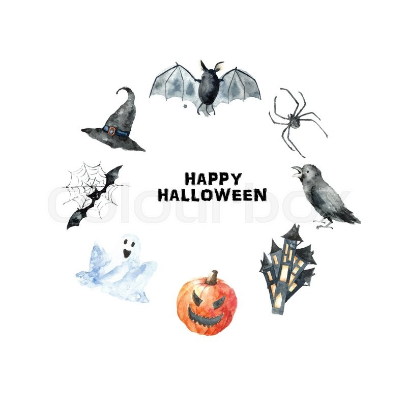Watercolor Halloween Sethand Painting Halloween Symbols Isolated On