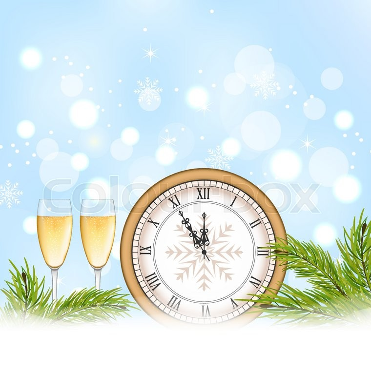 illustration happy new year background with clock and glasses of champagne vector vector