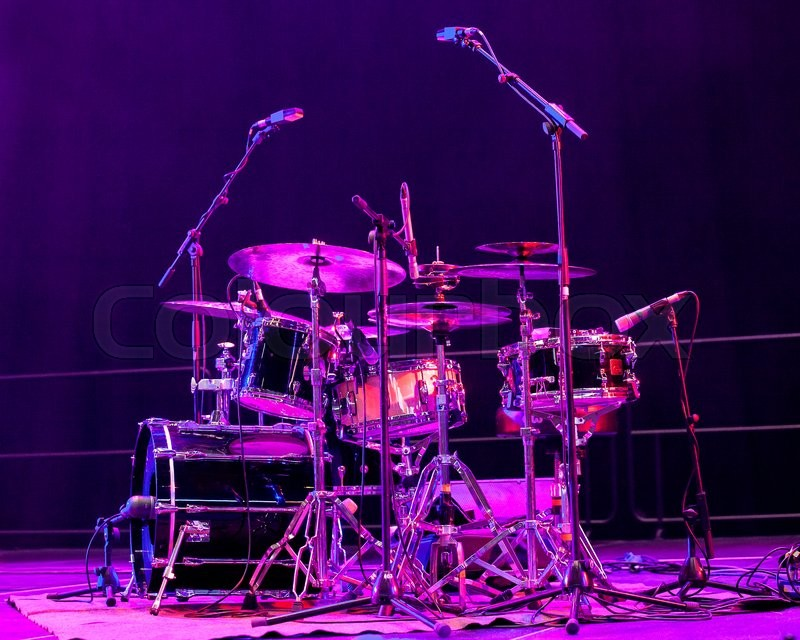 Drum Kit On Stage Lit By Red Light Stock Photo Colourbox