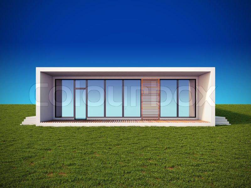 Eine 3d darstellung der modernen haus im minimalistischen for Casa minimalista wikipedia