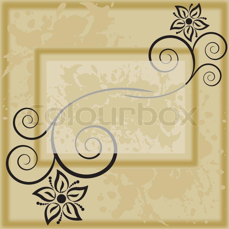 Bilderrahmen mit schwarzen Silhouetten von Blumen | Vektorgrafik ...