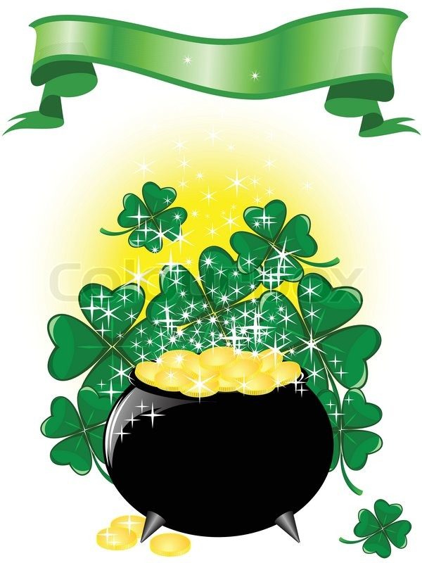 leprechaun pot of gold on a shimmering background with clover and    stock vector of  leprechaun pot of gold on a shimmering background   clover and ribbon