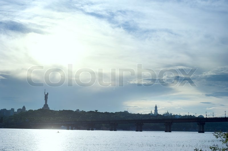 Panorama of Kiev from the island on the Dnepr river, stock photo