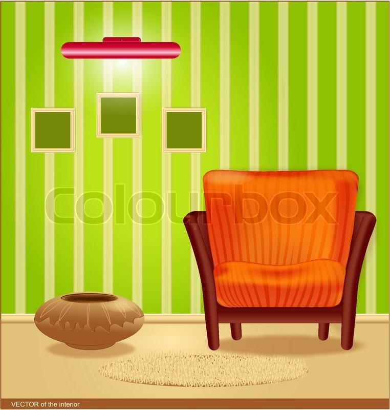Vector Zimmer Mit Grünen Tapeten Und Eine Gestreifte Sessel, Einen Rahmen  Für Die Wand Und Lampe | Vektorgrafik | Colourbox