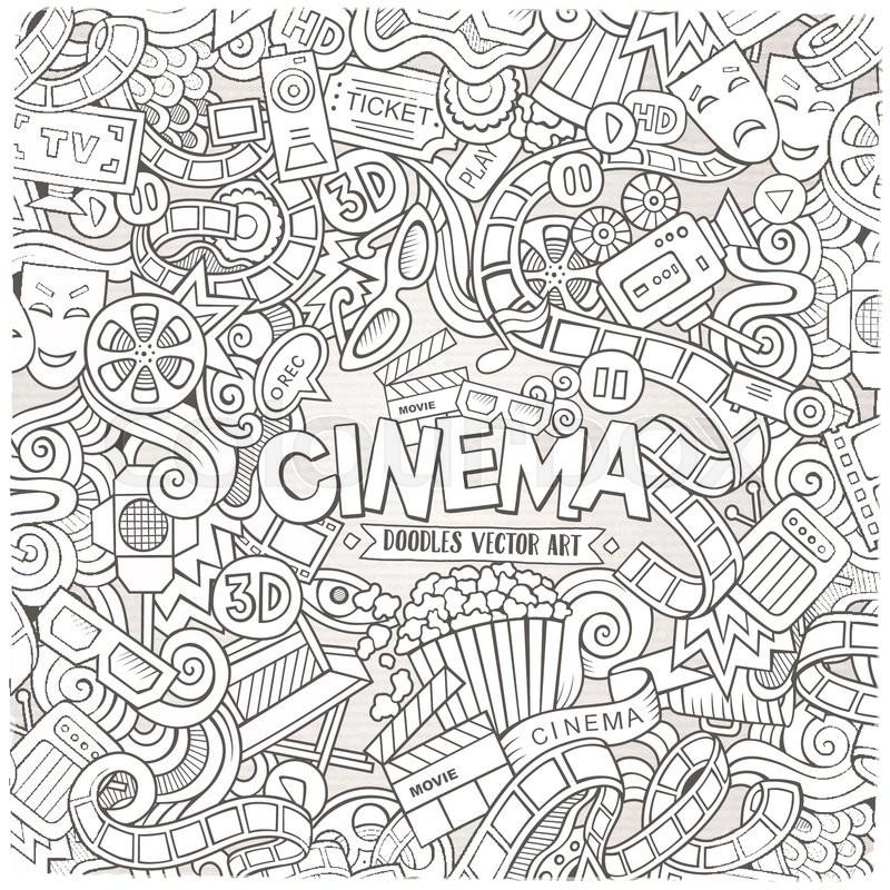 Cartoon Vector Hand Drawn Cinema Doodle Frame Sketchy