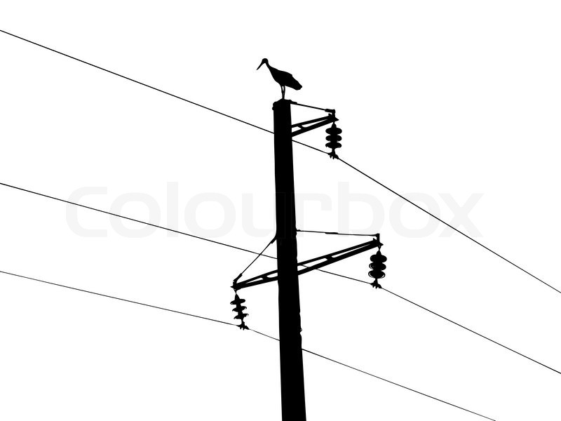 silhouette of the crane on white background