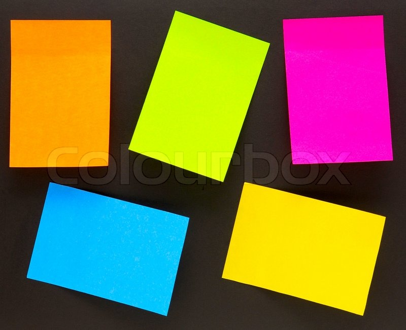 an empty color sticky notes on black stock photo colourbox