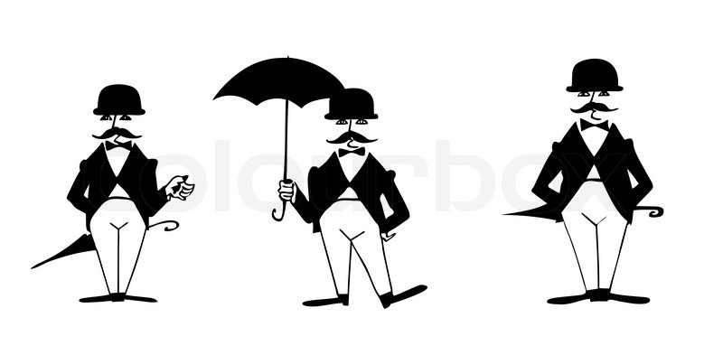 Drawing Of The Gentleman On White Stock Vector Colourbox