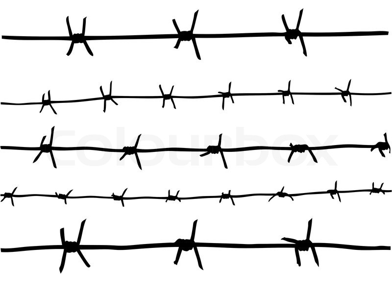 vector drawing of the barbed wire
