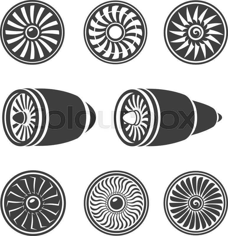 turbines icons set  airplane engine silhouettes and