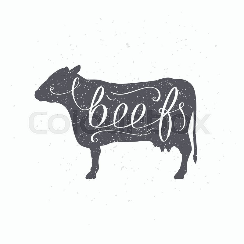 hand drawn hipster cow silhouette beef meat hand