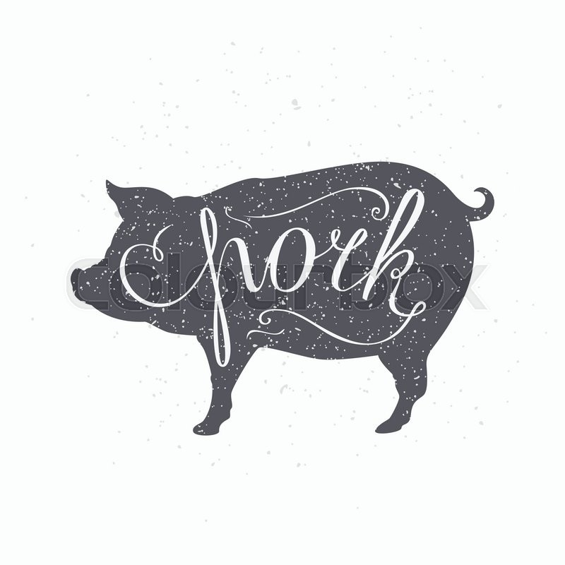 Hand drawn hipster pig silhouette. Pork meat hand ...