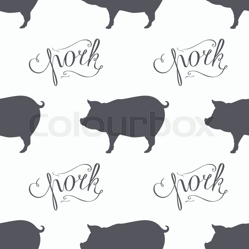 Hand Drawn Hipster Pig Seamless Pattern Pork Meat Lettering Butcher Shop Design Template For Craft Package Packaging Background