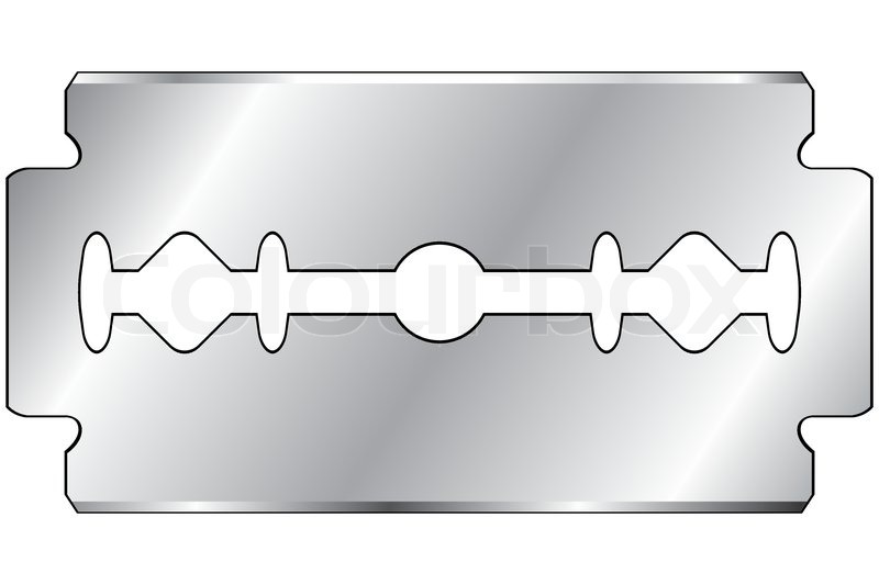 Stock vector of razor blade on a white background