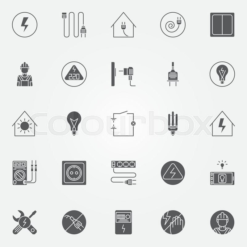 Electricity icons set - vector set of electric symbols or signs ...