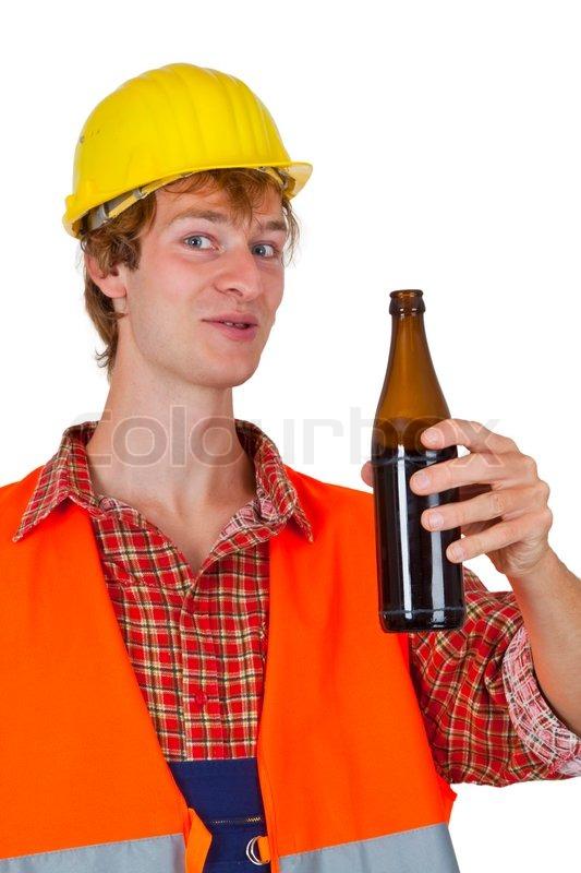 junger mann mit flasche bier isoliert auf stockfoto colourbox. Black Bedroom Furniture Sets. Home Design Ideas