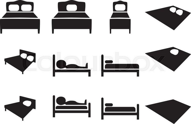 Hotel bed icon special white square button - csp50078067