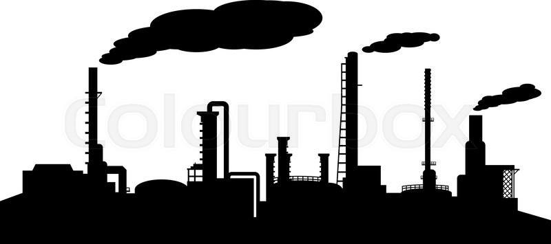Oil Refinery Industry Silhouette Vector Stock Vector Colourbox