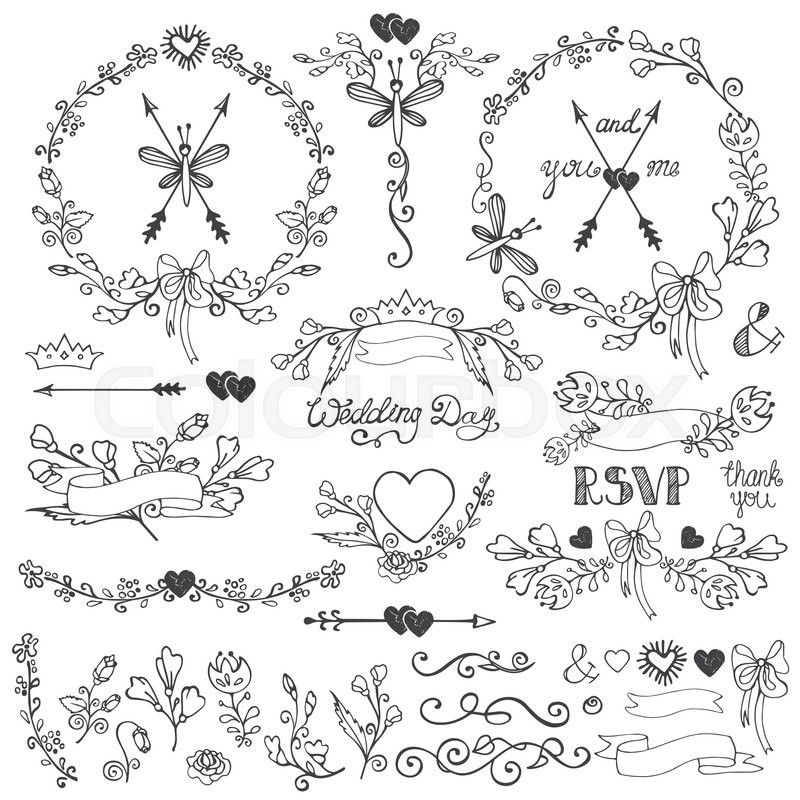 Wedding doodles floral decor elements setswirling borderbloom stock vector of wedding doodles floral decor elements setswirling borderbloom flowers junglespirit Gallery