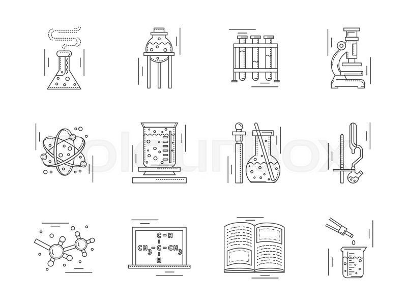 Collection Of Linear Vector Icons And Signs For Chemistry