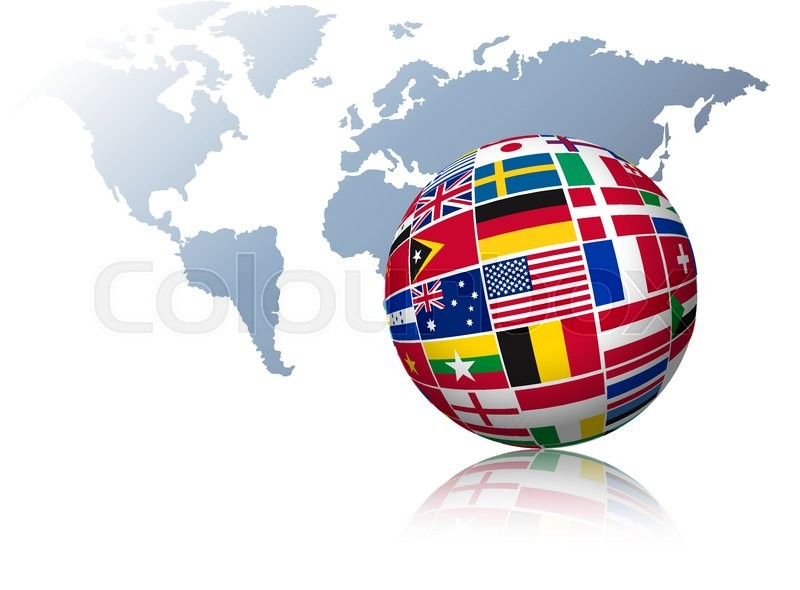 Globe made out of flags on a world map background vector stock globe made out of flags on a world map background vector vector gumiabroncs Gallery