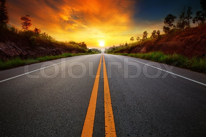 Beautiful Sun Rising Sky With Asphalt Stock Photo Colourbox