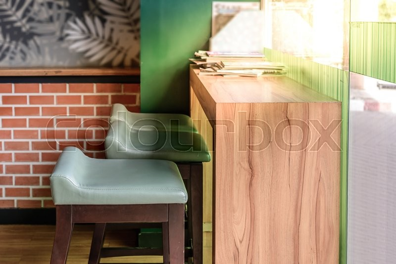 Vintage style coffee bar with sunlight, stock photo