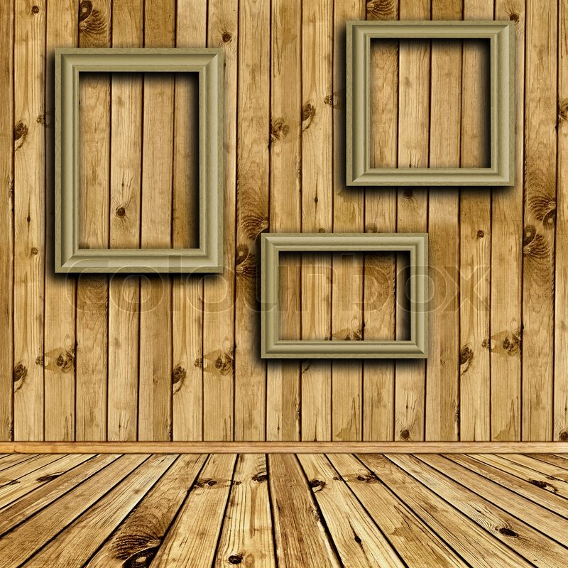 photo of empty natural wooden interior with empty frames at wall stock photo colourbox - Empty Frames On Wall