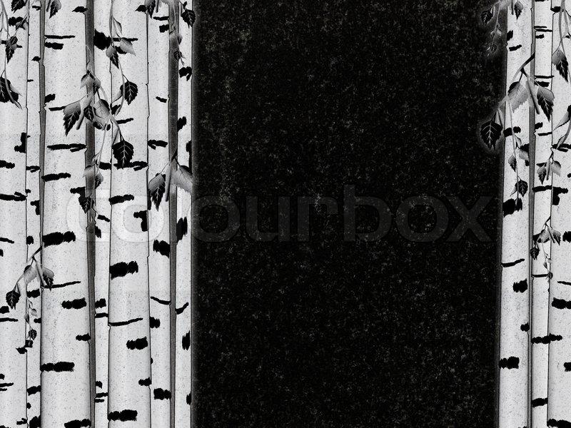 birke dekoration an schwarzem granit grabstein copyspace. Black Bedroom Furniture Sets. Home Design Ideas