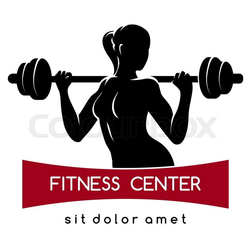 Fitness center or Gym emblem. Elegant woman silhouette