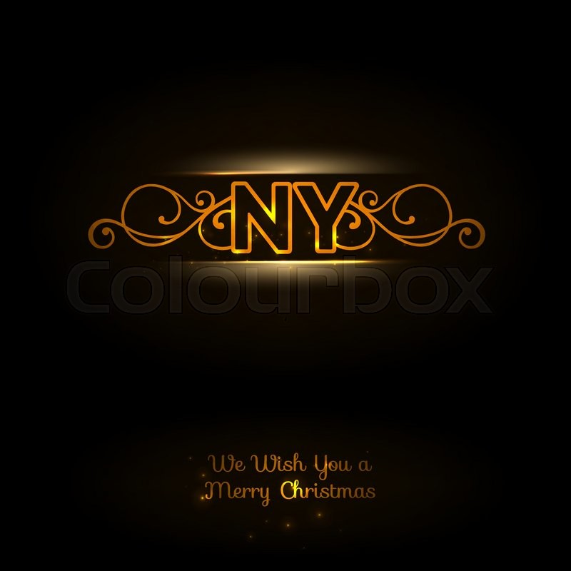 ny logo dark background elegant orange font new york logo new year greeting card vector illustration vector