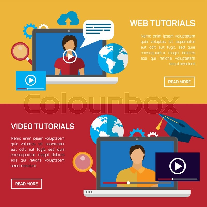 Flat education, training, online tutorial, e-learning concept ...