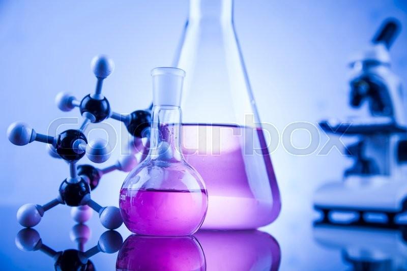 Science concept, Chemical laboratory glassware, stock photo