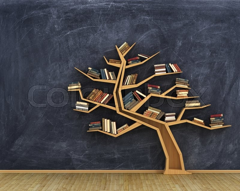 Concept of science. Bookshelf full of books in form of tree on a whiteboard, stock photo