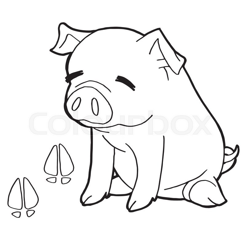 Image Of Pig With Paw Print Coloring Pages Vector