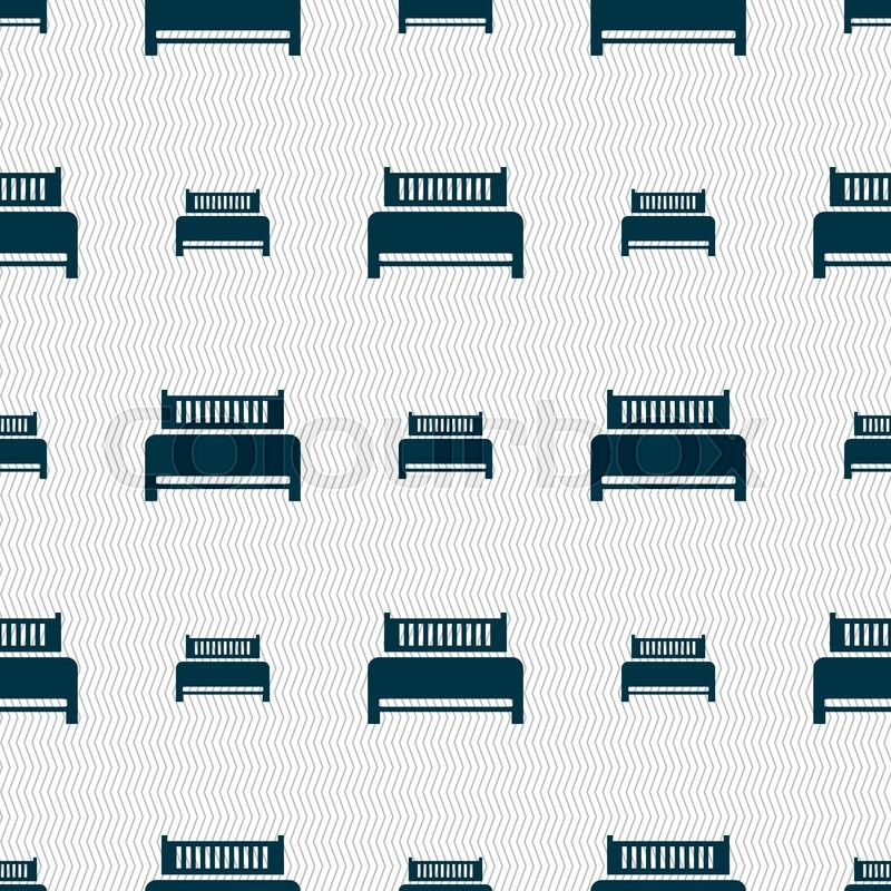 Hotel, bed icon sign. Seamless abstract background with geometric shapes.  Vector illustration, vector