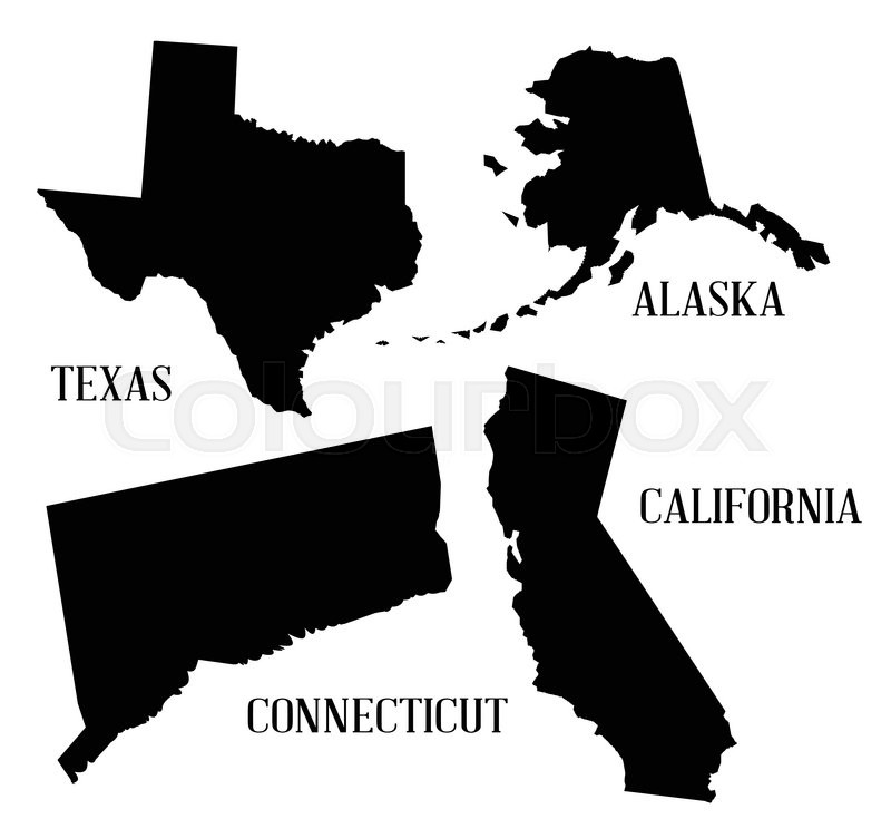 Silhouette map of a selection of the states of america stock silhouette map of a selection of the states of america stock vector colourbox publicscrutiny Choice Image