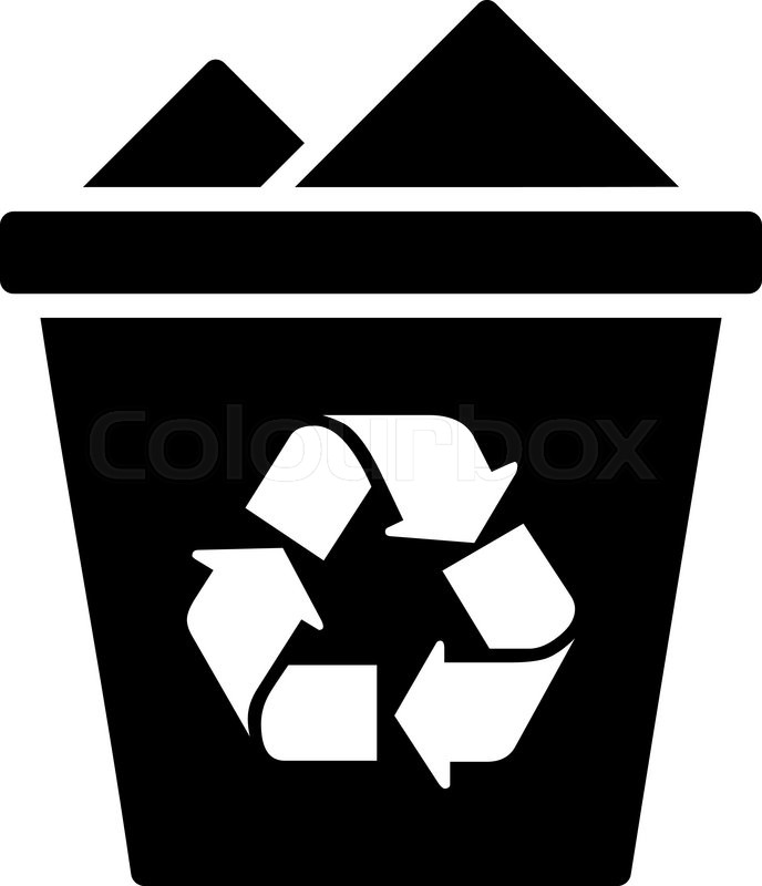 full recycle bin vector icon style is flat symbol black